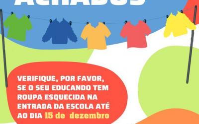 Perdidos e Achados:  O seu educando perdeu roupa na escola?