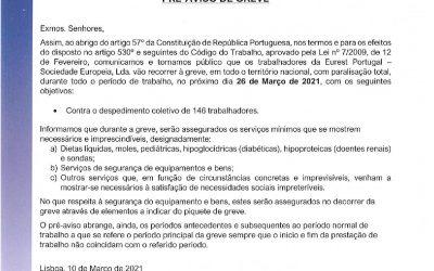 Cantina: Pré-aviso de greve 26 de Março
