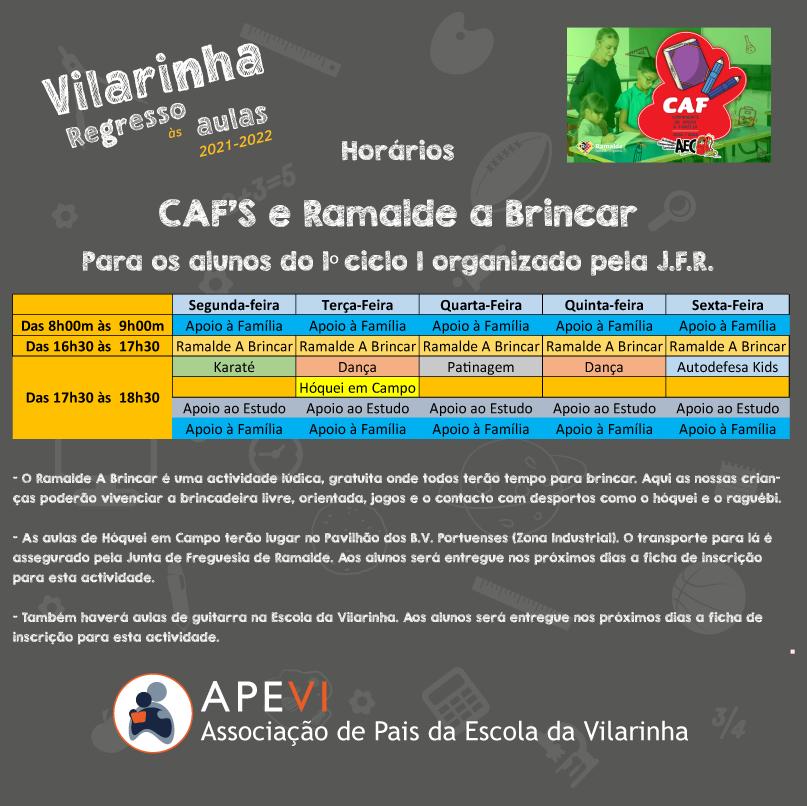 2021-2022 - Horários CAFS e Ramalde a brinca